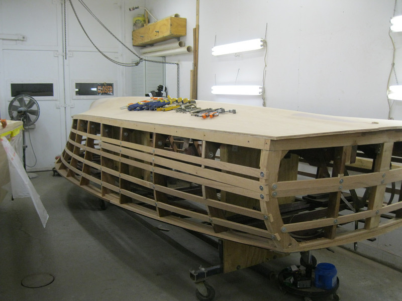 Rear starboard view of new side battens.
