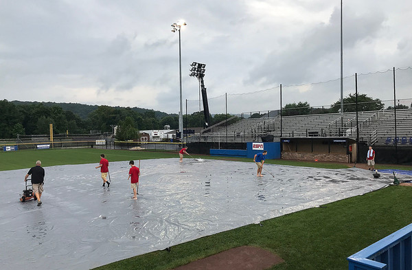 8/7/2019 Mike Orazzi | Staff A rain delay during Wednesday's New England Region Little League Baseball Tournament game between Connecticut and Maine at Breen Field in Bristol, Conn.