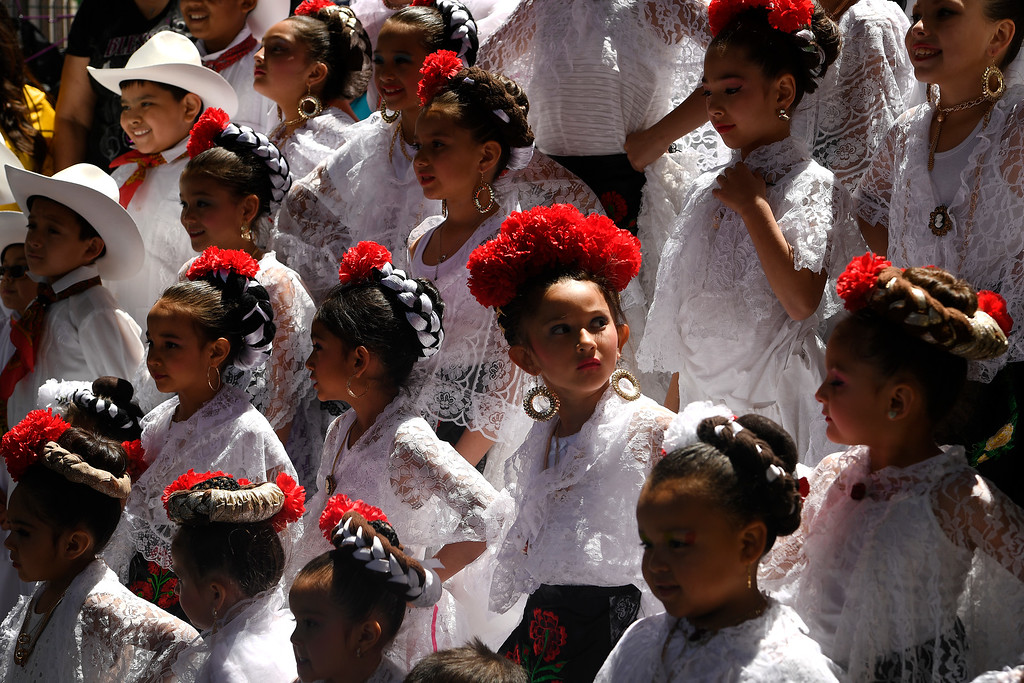 . DENVER, CO - MAY 8:  Folklorico mexican dancers get ready to perform  during Cinco de Mayo celebrations at Civic Center Park on May 8, 2016 in Denver, Colorado. (Photo by Helen H. Richardson/The Denver Post)