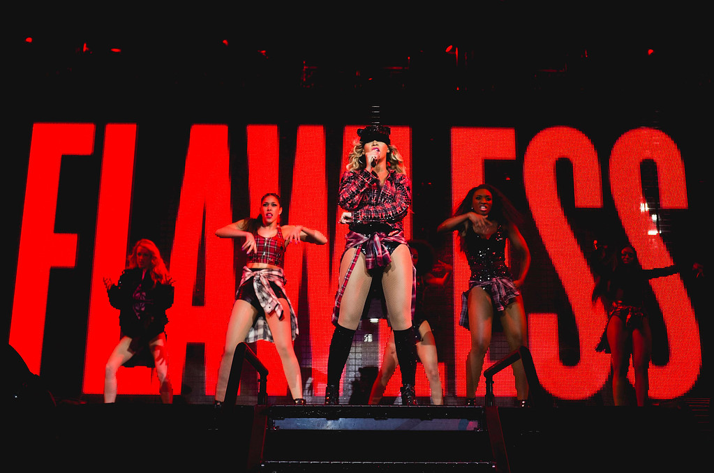 ". Beyonce performs onstage on her  ""Mrs. Carter Show World Tour 2014,\"" at the Phones 4u Arena in Manchester, United Kingdom on Tuesday, Feb. 25, 2014. (Photo by Rob Hoffman/Parkwood Entertainment/PictureGroup)"