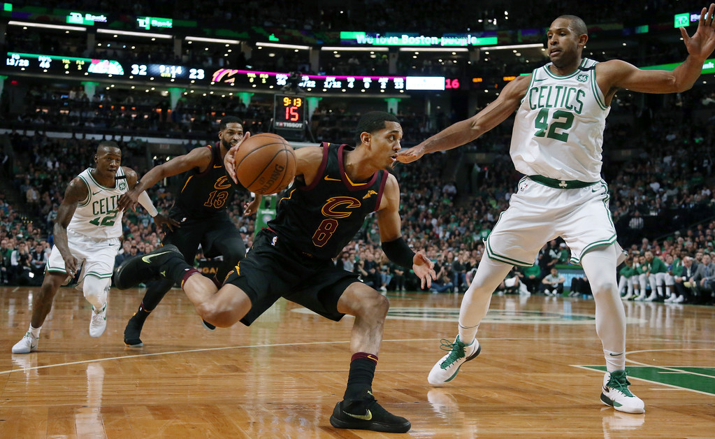. Cleveland Cavaliers guard Jordan Clarkson (8) drives against Boston Celtics forward Al Horford (42) during the first half in Game 7 of the NBA basketball Eastern Conference finals, Sunday, May 27, 2018, in Boston. (AP Photo/Elise Amendola)