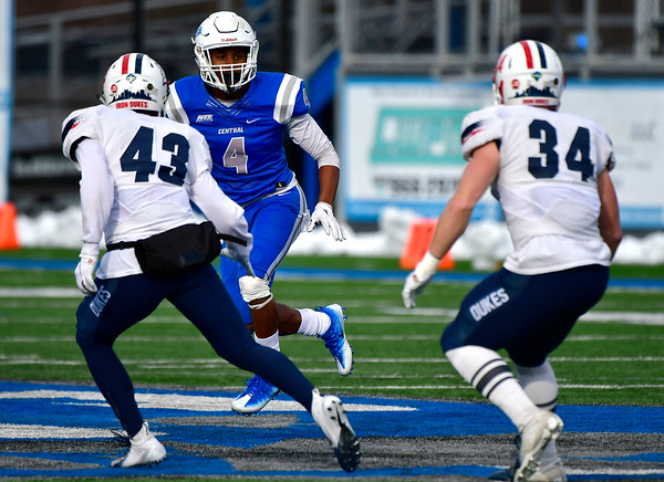 11/17/2018 Mike Orazzi | Staff CCSU's Tajik Bagley (4) against Duquesne at Arute Field in New Britain Saturday afternoon.