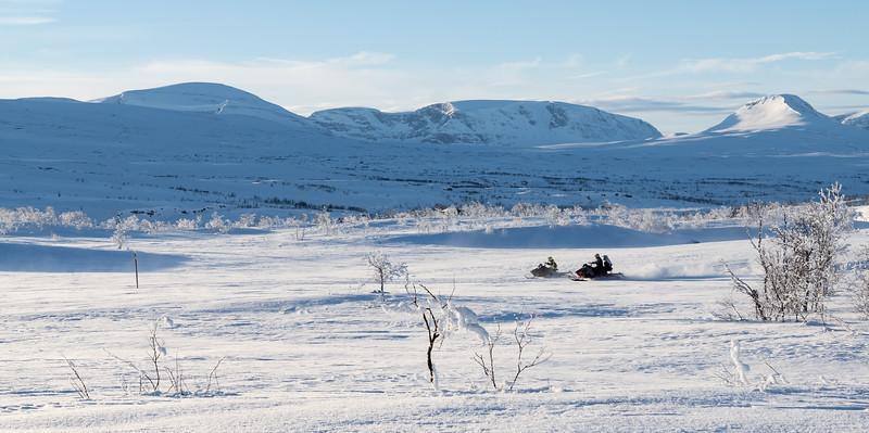 Snowmobiles at Kilpisjarvi