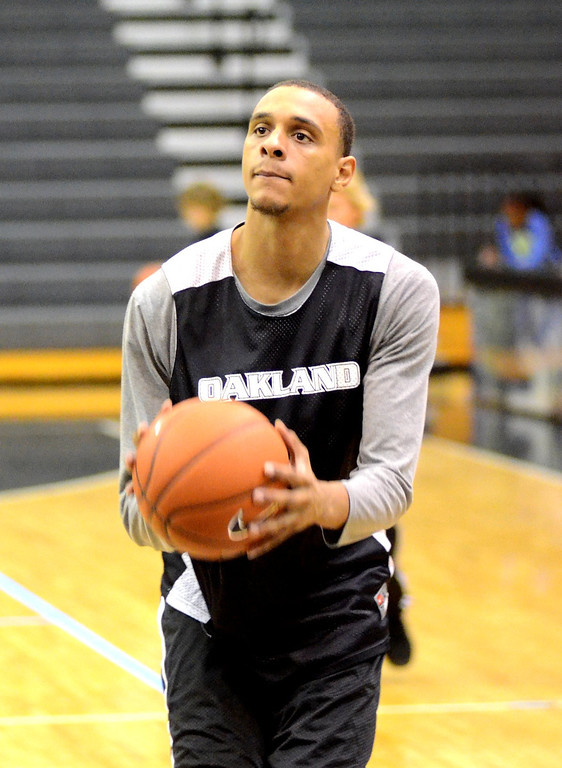 . Oakland University forward Tommie McCune during practice Tuesday.    Tuesday, November 5, 2013.  The Oakland Press/TIM THOMPSON