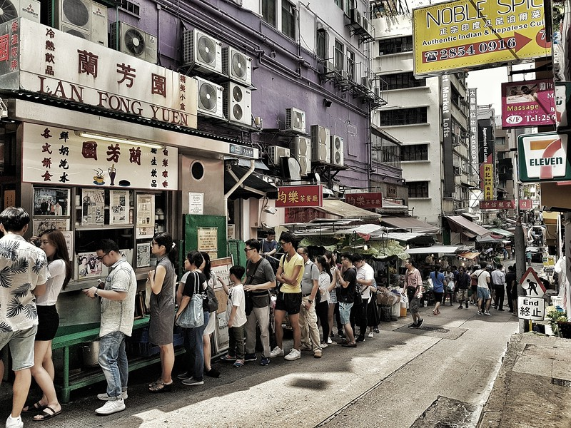 Milk Tea Queue in Hong Kong