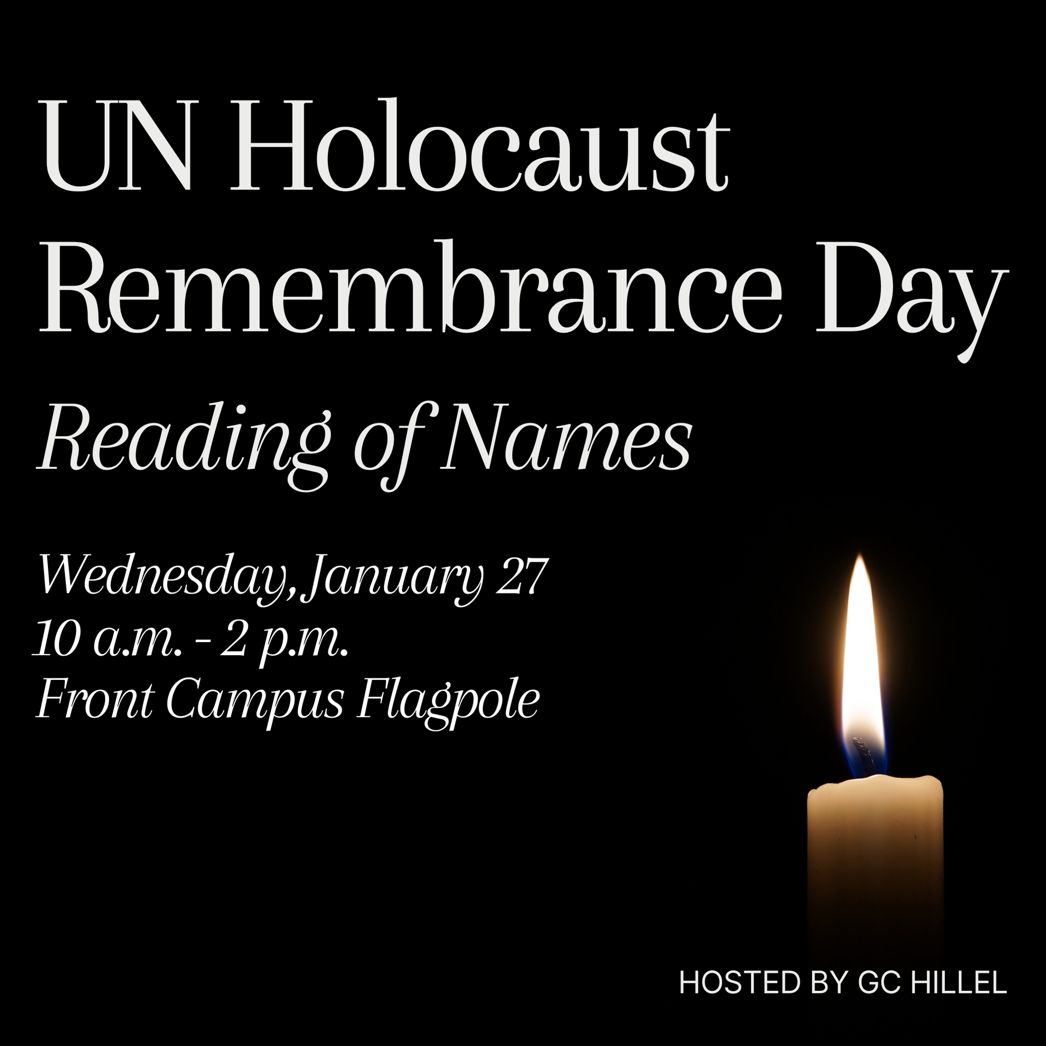 Image of a candle with text UN Holocaust Remembrance Day Reading of Names