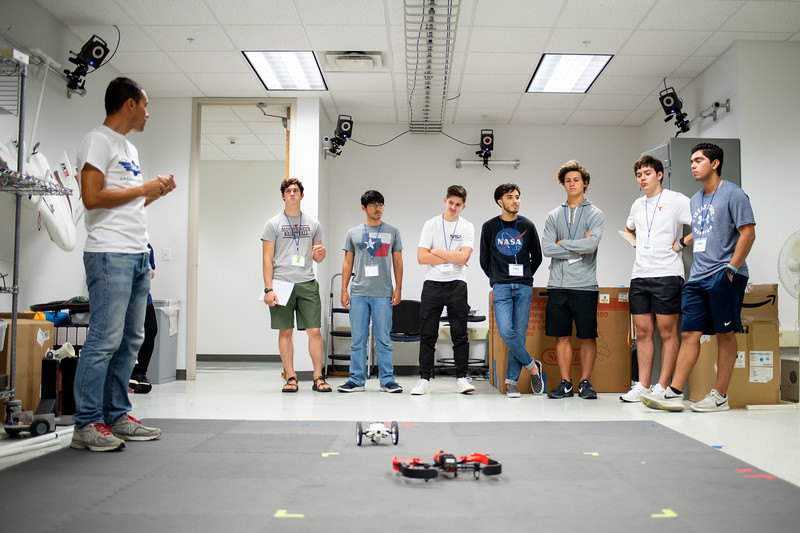 Dr. Luis Garcia introduces drone control procedures to the 2019 UAS Summer Program students.