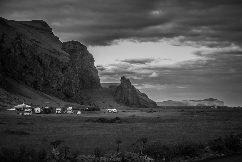 The campground in the town of Vik