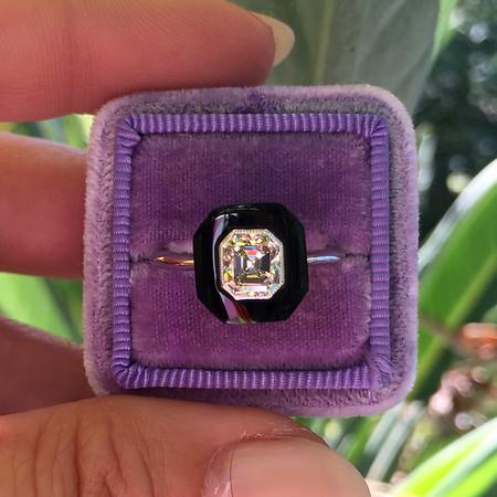 .97ct Antique Asscher Onyx Surround Ring, GIA M VVS2