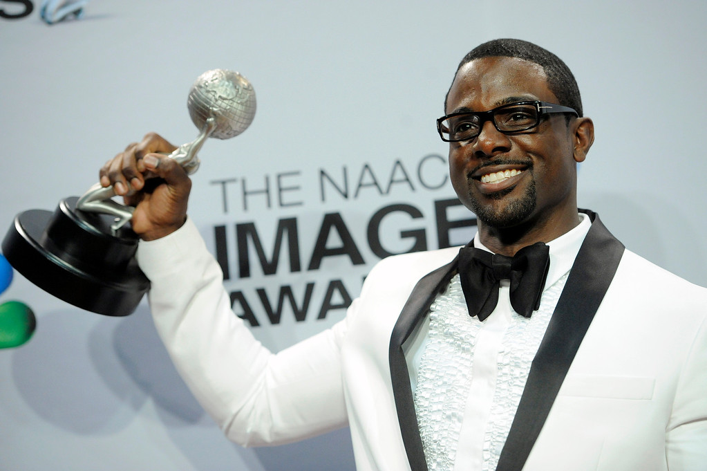 """. Lance Gross poses backstage with the award for outstanding supporting actor in a comedy series for \""""Tyler Perry\'s House of Payne\"""" at the 44th Annual NAACP Image Awards at the Shrine Auditorium in Los Angeles on Friday, Feb. 1, 2013. (Photo by Chris Pizzello/Invision/AP)"""
