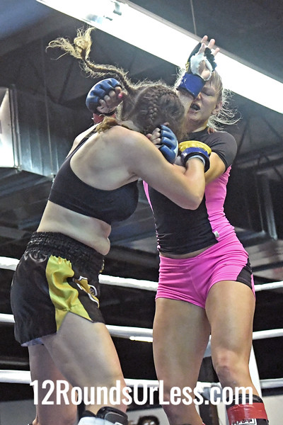 Bout #12: Ammy Female MMA, Mary Hawes, Blue Wrist Wraps, 122 Lbs -vs- Stacy Sikole, Red Wrist Wraps, 123 Lbs