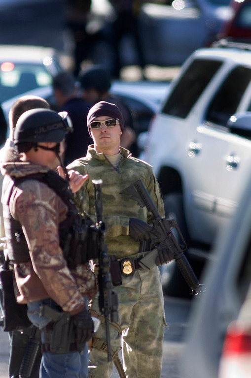 . A tactical team ready getting ready to make their way to the cabin where fugitive former LAPD officer and accused murderer Christopher Jordan Dorner was holding authoritites at bay