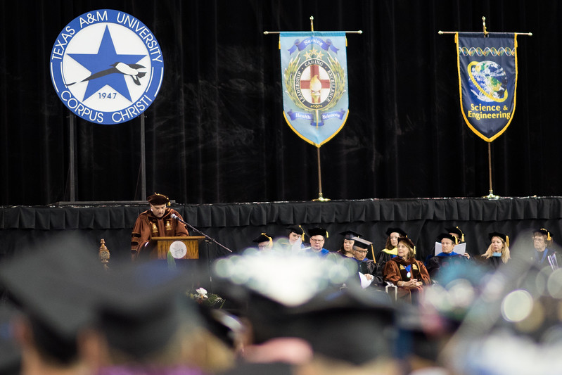 Mark Escamilla speaks to the Spring 2017 graduating class of TAMU-CC. Over 1,100 graduates received their degrees during two commencement ceremonies held on May 13.