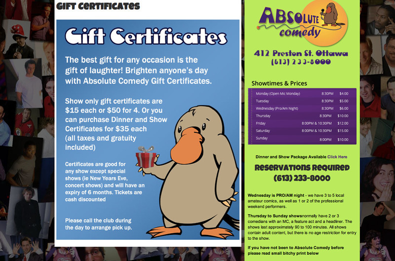 Item # 5 -  $100  Gift Certificate to Absolute Comedy