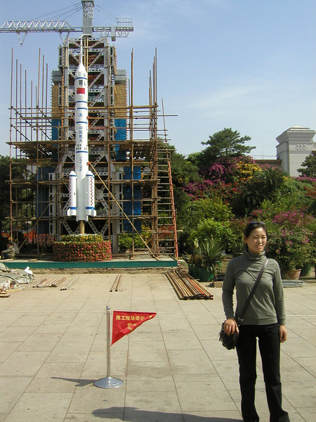 Tiananmen Square with model of Chinese launch vehicle; 2004 Beijing,