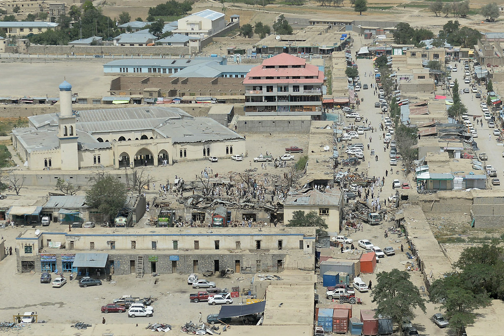 . An aerial view of the destroyed market following the July 15 suicide attack is pictured in Urgun district, Paktika province on July 16, 2014. Afghan officials on July 16 began investigating a devastating suicide bombing at a busy market that killed at least 42 people, one of the deadliest attacks in the wartorn country in recent years. A bomber drove a truck loaded with explosives into the market in Urgun district of southeastern Paktika province as it thronged with shoppers on Tuesday morning. SHAH MARAI/AFP/Getty Images