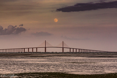 Full Moon Rising and the Skyway Bridge