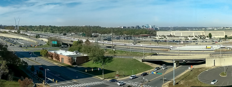 From hotel, L to R:  AF Museum, Arlington Nat'l Cemetery, Pentagon