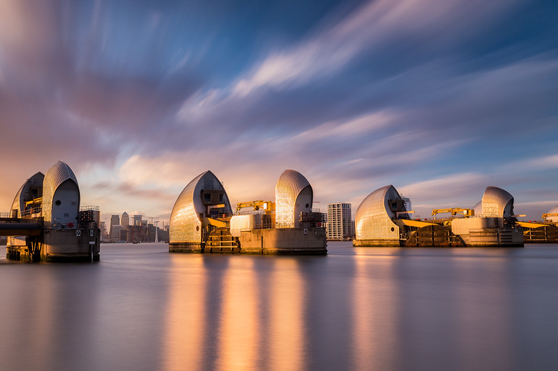 Thames Barriers at sunset