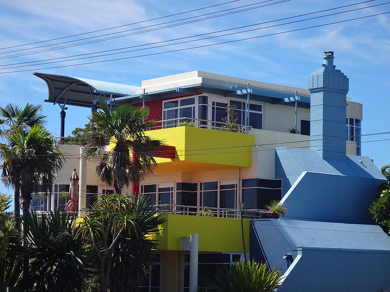 Somebody's colourful home by the seaside