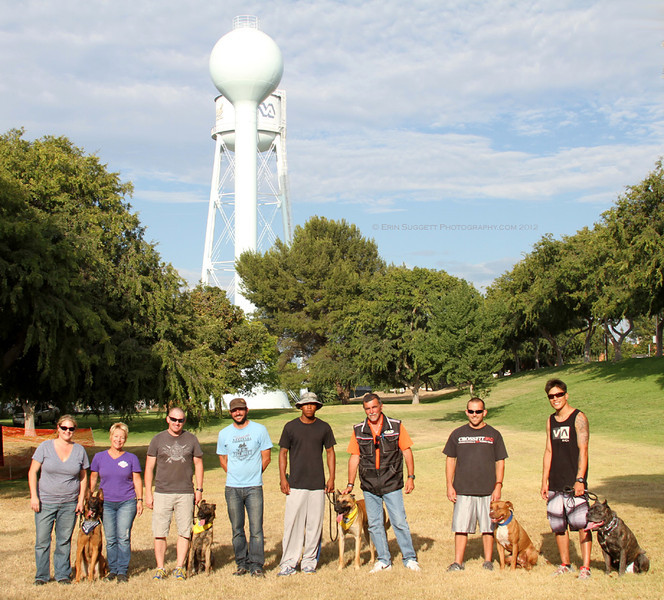"From Left - Right:  ""Safe Dog Certified"" team Erin Kramer & Tripp with Evaluator, Leri Hanson, ""Canine Good Citizen"" team Josh McCleary & Hector with Evaluator Cary Petersen, ""Canine Good Citizen/CSAU"" team Raymond Williams & Blaze, CSAU Judge, Dominique Piton, CSAU team Jesse Chartier & Raymond and CSAU team Tex Kim & Cielo.  Congratulations to ALL of these wonderful teams!