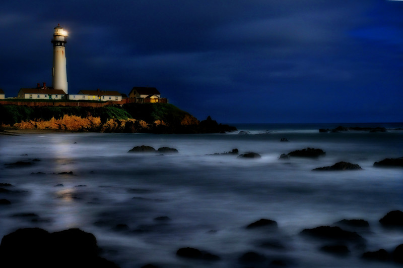 Moonlight Guidance lighthouse, Pigeon Point, night