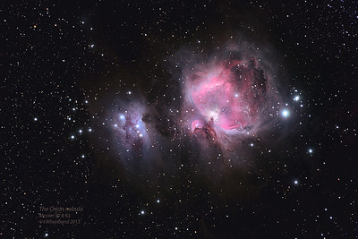 Messier 42 (NGC1976) the Great Orion Nebula, Messier 43 (NGC1982), and  NGC1977, the Running Man Nebula.