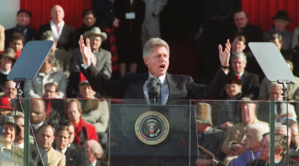 . President Clinton gestures as he delivers his inaugural address after taking the oath of office on Jan. 20, 1993.  Clinton was sworn-in for a second term in front of the Capitol on Jan. 20, 1997, along with Vice President Al Gore.  (AP Photo/Ron Edmonds)