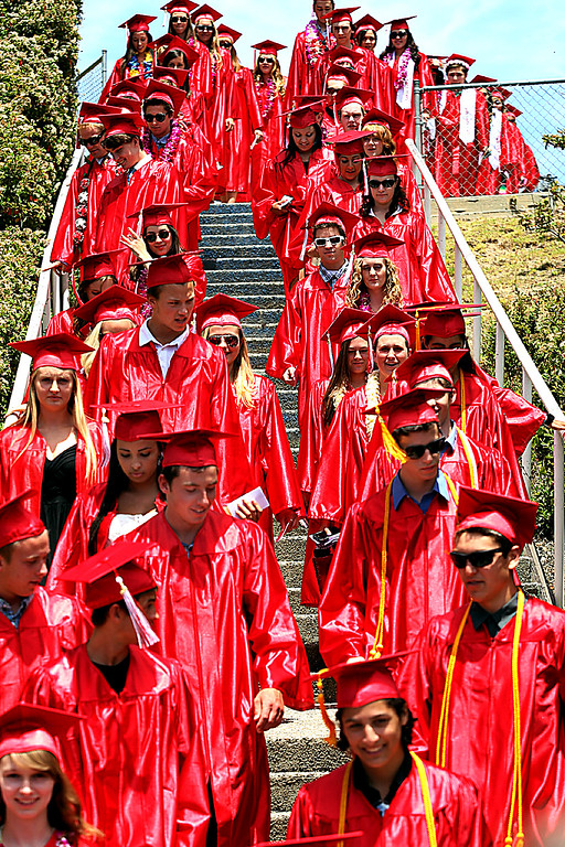 . Santa Cruz High graduating seniors march into their graduation ceremony Friday at Cabrillo College.  (Dan Coyro/Sentinel)