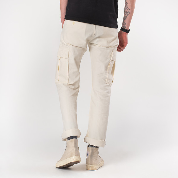 White 10.5oz Cotton Herringbone Cargo Pants--7.jpg