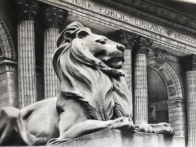 """""""Patience: A Library Lion"""" (charcoal) by Carol Gromer"""