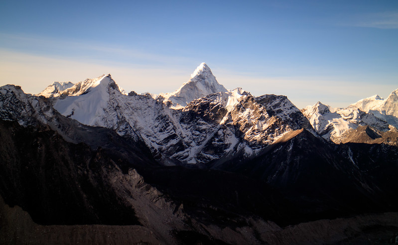Ama Dablam summit stands out during sunrise from Kala Patthar