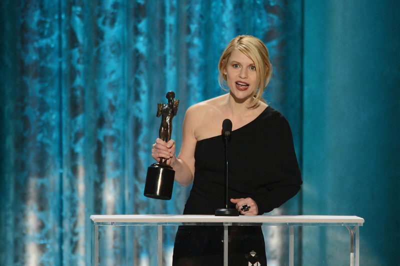 . Actress Claire Danes accepts the award for Outstanding Performance by a Female Actor in a Drama Series for \'Homeland\' onstage during the 19th Annual Screen Actors Guild Awards held at The Shrine Auditorium on January 27, 2013 in Los Angeles, California.  (Photo by Mark Davis/Getty Images)