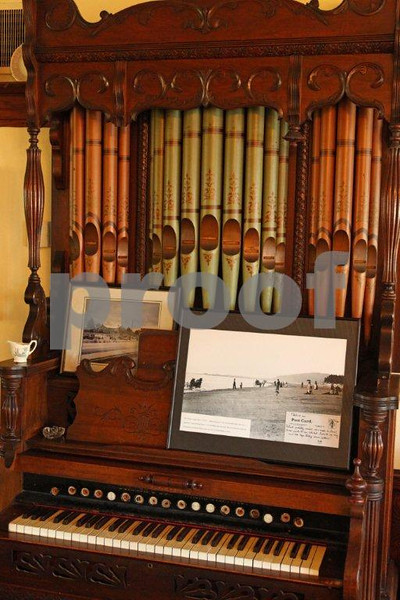 An old organ adorns the Tokeland Hotel in Tokeland, WA which is on the State Historical Register and offers overnight accomodations and fine dining.