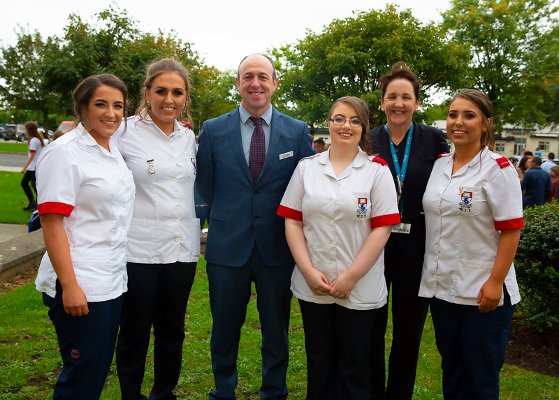 26/09/2019. Nurses Graduation at University Hospital Waterford are Kelly Walsh Tipperary, Dearbhla O'Donovan Waterford, TJ White, Clinical Director South Tipperary General Hospital, Rachel Kennedy Tipperary, Shirley English and Rebecca English Tipperary. Picture: Patrick Browne