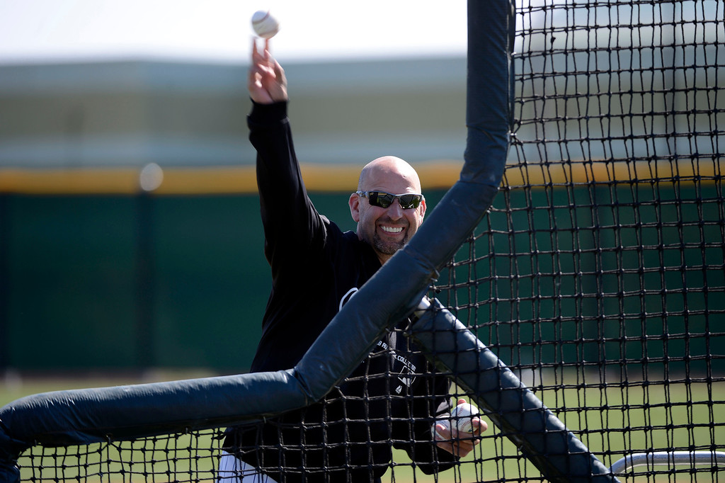 . SCOTTSDALE, AZ. - FEBRUARY 19: Colorado Rockies Manager Walt Weiss throws batting practice to his sons during Spring Training February 19, 2013 in Scottsdale. (Photo By John Leyba/The Denver Post)