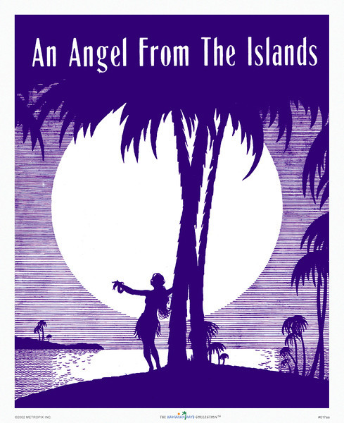 017: 'An Angel From The Islands,' originally a Hawaiian sheet music cover by LaSalle from ca. 1937, with a strikingly elegant and romantic composition in a blue and white color scheme.