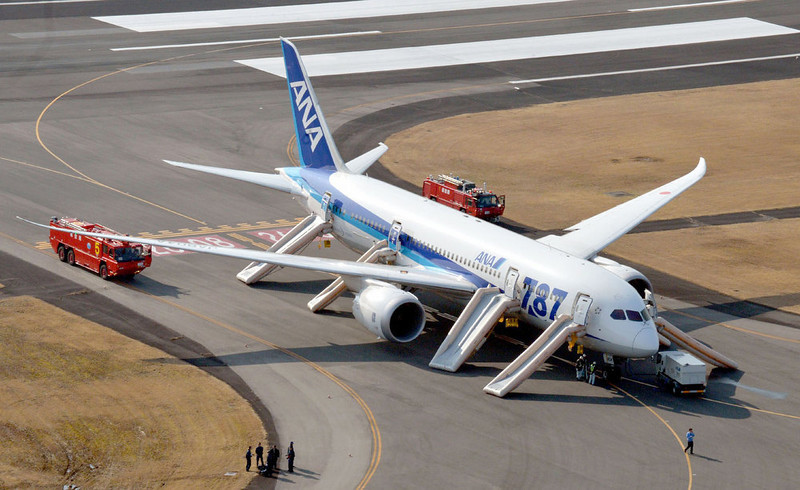 . An All Nippon Airways flight sits at Takamatsu airport in Takamatsu, western Japan after it made an emergency landing Wednesday, Jan. 16, 2013. The flight to Tokyo from Ube in western Japan landed at the airport after a cockpit message showed battery problems, in the latest trouble for the Boeing 787 ìDreamliner.î (AP Photo/Kyodo News)