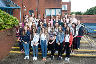 Pictured are this years highest achieving GCSE students with Our Lady's Principal Ms Geraldine Pettigrew and VP's Mrs Teresa McAllister and Mrs Fiona McAlinden. R1535018