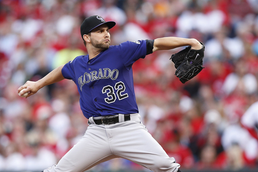 . Tyler Chatwood #32 of the Colorado Rockies pitches against the Cincinnati Reds during the game at Great American Ball Park on June 3, 2013 in Cincinnati, Ohio. (Photo by Joe Robbins/Getty Images)