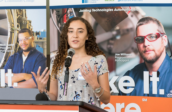 08/10/18 Wesley Bunnell | Staff Recent Asuntuck Community College graduate Kaitlyn Lynch speaks during a press conference at Tunxis Community College on Friday to highlight the schools new advanced manufacturing programs during a visit from Senator Richard Blumenthal. The conference highlighted the demand for advanced manufacturing jobs within Connecticut.