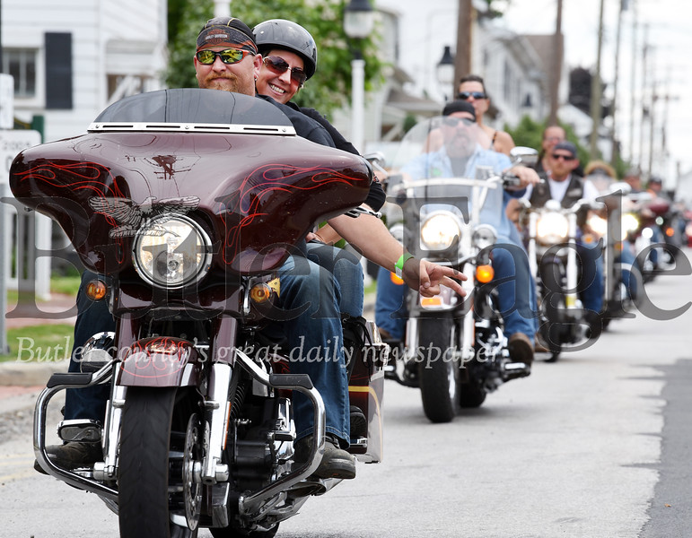 Harold Aughton/Butler Eagle: Motorcycle enthusiasts made stops at the Saxonburg VFW Post 7376 Sunday morning in route to the West Sunbury American Legion during the 14th Annual Ride for Homeless Vets.
