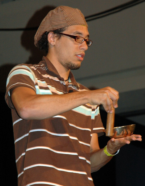 A member of the MYLE house band leads a drum circle. (Carrie Draeger, 2009)