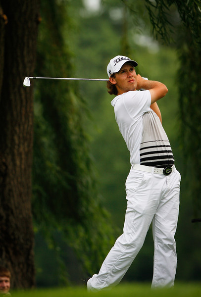 Bryden Macpherson of Melbourne Australia hits a shot during the first round Tuesday.