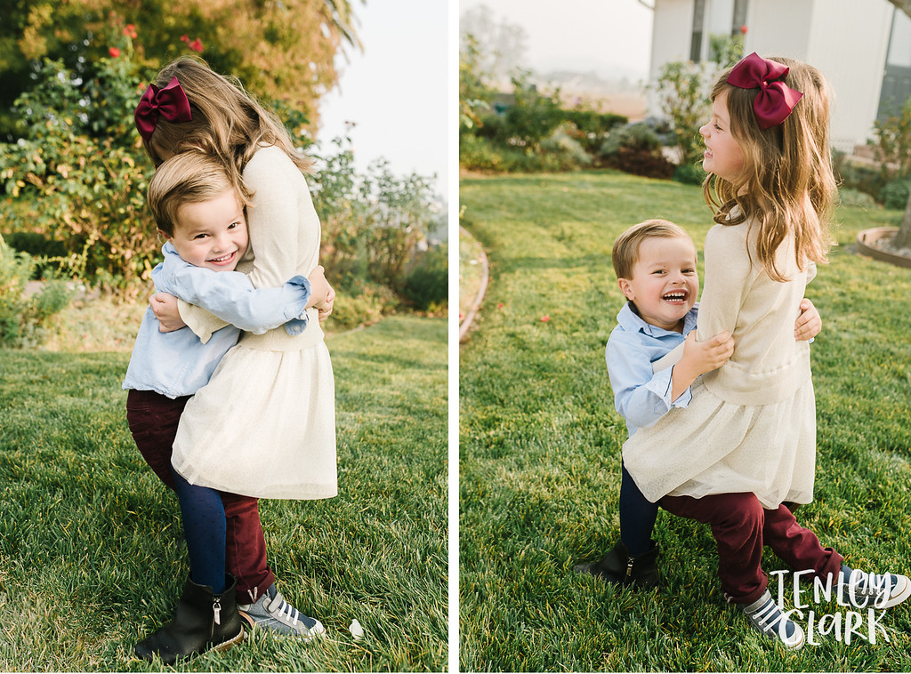 Sibling hug. Lifestyle in-home family photoshoot in Marin, CA by Tenley Clark Photography.