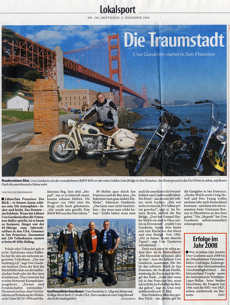 Lohne Germany newspaper article about my friend Uwe's trip to San Francisco