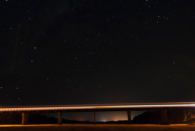Stars over 9-Mile Bridge over the Gascoyne River, Carnarvon - 20/9/2014 (Processed single image)