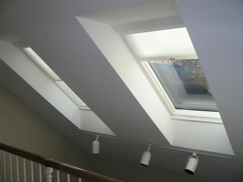 SkyRise cellular light filtering shades in skylights