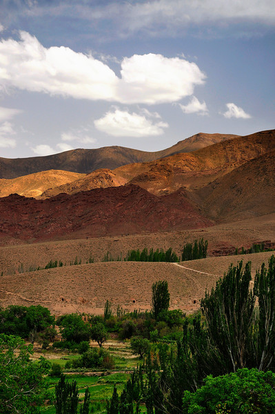 Vertical Landscape of Karkas Mountain and Farming Gardens in Abyaneh, Iran.