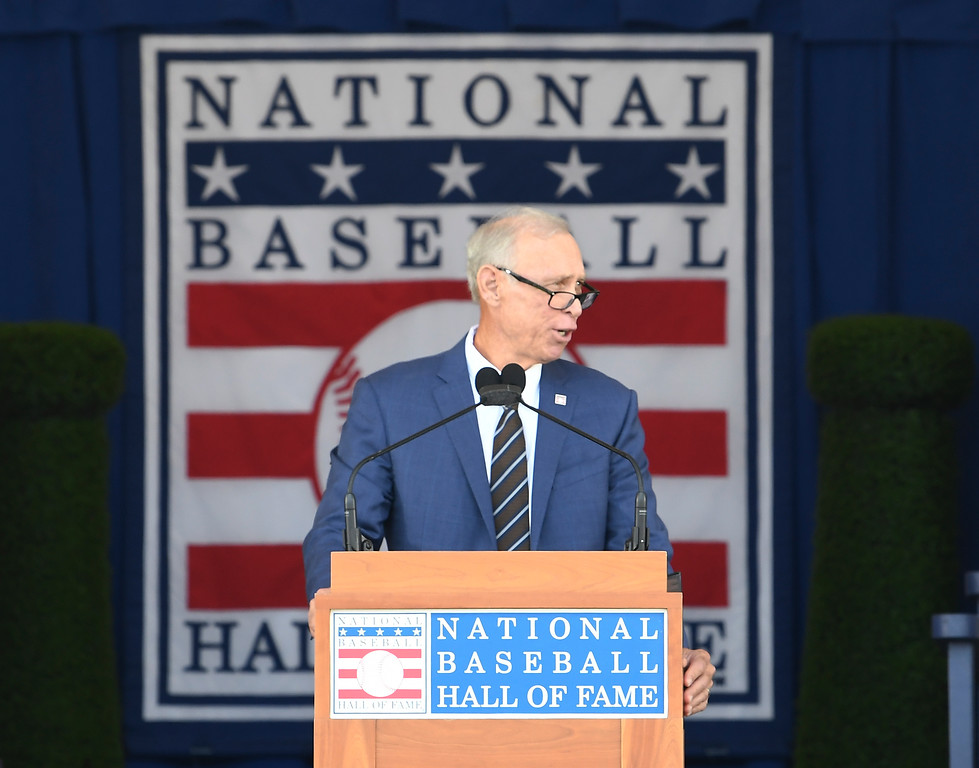. National Baseball Hall of Fame inductee Alan Trammell, speaks during an induction ceremony at the Clark Sports Center on Sunday, July 29, 2018, in Cooperstown, N.Y. (AP Photo/Hans Pennink)